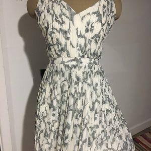 White and grey (birdsprint) midi/maxi dress